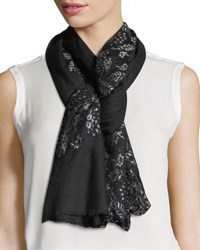 Bindya Pumice Lace Overlay Evening Stole Wrap Black Silver