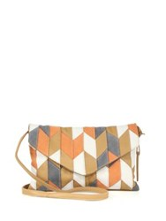 Linea Pelle Spence Patchwork Leather Envelope Crossbody Tan Multi