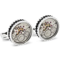 Tateossian Gear Rhodium Plated And Enamel Cufflinks Silver