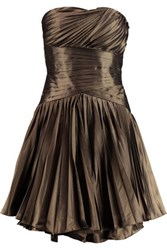 Halston Heritage Pleated Metallic Taffeta Mini Dress Bronze