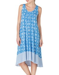 Ellen Tracy Crisscross Midi Nightgown Blue