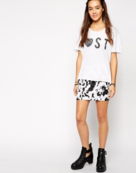 Your Eyes Lie Abstract Print Skirt Blackwhite