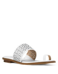 Michael Michael Kors Sonya Perforated Leather Toe Thong Sandals Optic White