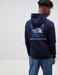 The North Face Raglan Red Box Hoodie In Navy