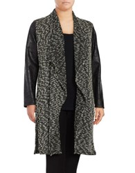 Jones New York Plus Drape Front Duster Cardigan