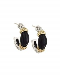 Lagos Caviar Rouche Black Agate Hoop Earrings Multi