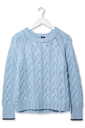 Chunky Cable Hand Knit Jumper By Boutique Pale Blue