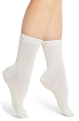 Nordstrom Women's 'Luxury' Patterned Crew Socks Ivory Sparkle W Tipping