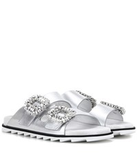 Roger Vivier Slidy Viv' Leather Sandals Silver