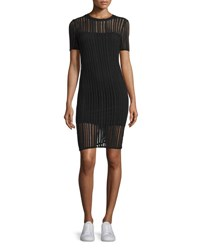 Alexander Wang Short Sleeve Jacquard Sheath Dress Black