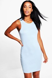 Boohoo Basic Racer Front Bodycon Dress Vintage Blue