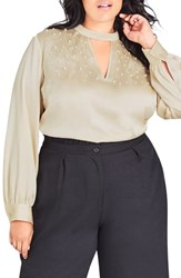 City Chic Plus Size Imitation Pearl Satin Top Stone