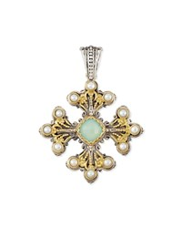 Sea Blue Agate And Pearl Cross Pendant Konstantino White