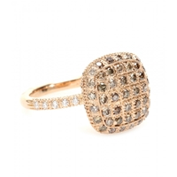 Roberto Marroni 18Kt Rose Gold Ring With Brown And White Diamonds