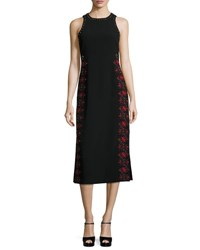Cinq A Sept Faye Embroidered And Studded Midi Dress Black