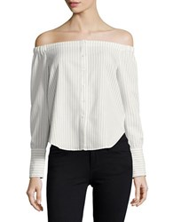 Lucy Paris Striped Off The Shoulder Top White Stripe