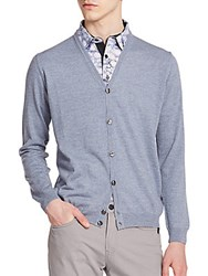 Sand Virgin Wool V Neck Cardigan Blue