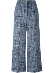 Sonia Rykiel Wide Leg Tweed Trousers Blue