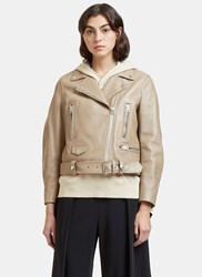 Acne Studios Mock Biker Leather Jacket Beige