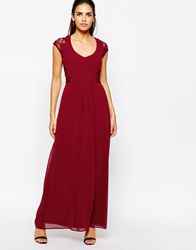 Elise Ryan Maxi Dress With Lace Sleeves Berry
