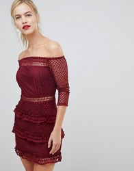 Liquorish Off Shoulder Layered Lace Dress