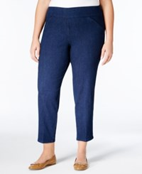 Alfred Dunner Plus Size Uptown Girl Collection Pull On Stretch Ankle Pants Denim