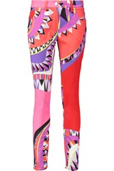 Emilio Pucci Mid Rise Printed Skinny Jeans Bright Pink