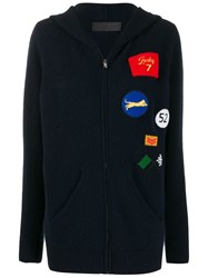 The Elder Statesman Multi Patches Knitted Jacket Blue
