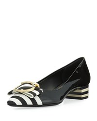 Salvatore Ferragamo Ezia Patent Striped Bow Pump Black