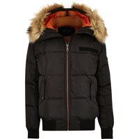 River Island Mens Black Faux Fur Trim Hooded Puffer Jacket