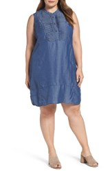 Nic Zoe Plus Size Women's Pintuck Bib Denim Shift Dress Dark Indigo