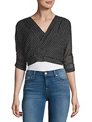 Lucca Couture Dotted Crop Top Black Dot