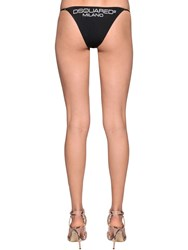 Dsquared Printed Lycra Bikini Bottoms Black