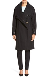 Badgley Mischka 'Manila' Leather Trim Shawl Collar Wool Blend Coat Black