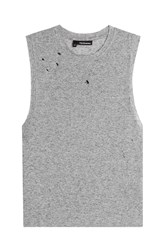 The Kooples Distressed Jersey Tank With Linen Grey