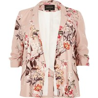 River Island Womens Plus Pink Floral Print Ruched Sleeve Blazer