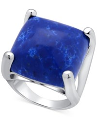 Guess Silver Tone Large Square Blue Stone Statement Ring
