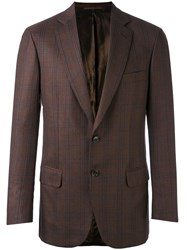 Brioni Check Blazer Men Cupro Wool 46 Brown
