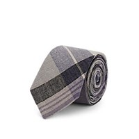 Alexander Olch Plaid Linen Necktie Purple