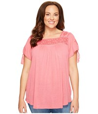 Lucky Brand Plus Size Embroidered Top Desert Rose Women's Clothing Pink
