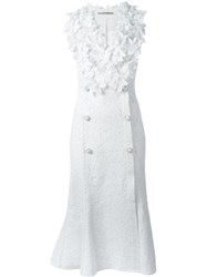 Ermanno Scervino Lace Overlay Floral Applique Button Detail Dress White