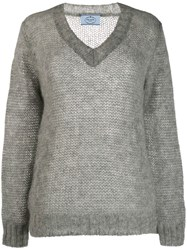Prada Mohair V Neck Cable Knit Top Grey