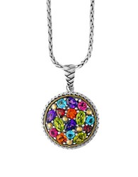 Effy Amethyst Blue Topaz Citrine Garnet 927 Sterling Silver And 18K Yellow Gold Necklace Two Tone