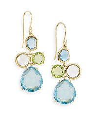 Ippolita Rock Candy London Blue Topaz Green Gold Citrine Green Amethyst Peridot And 18K Yellow Gold Gelato Doublet Drop Earrings Gold Multi