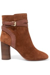 Ash Glenda Baby Buckled Suede Ankle Boots Brown