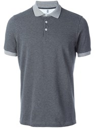 Brunello Cucinelli Striped Collar Polo Shirt Grey
