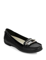 Anne Klein Noris Textured Leather Loafers Black