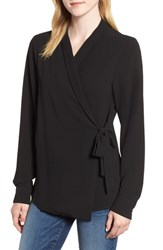 Bobeau Side Tie Wrap Top Black