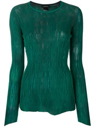 Avant Toi Textured Long Sleeved Top Green