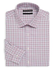 Saks Fifth Avenue Black Checkered Cotton Dress Shirt Red Blue